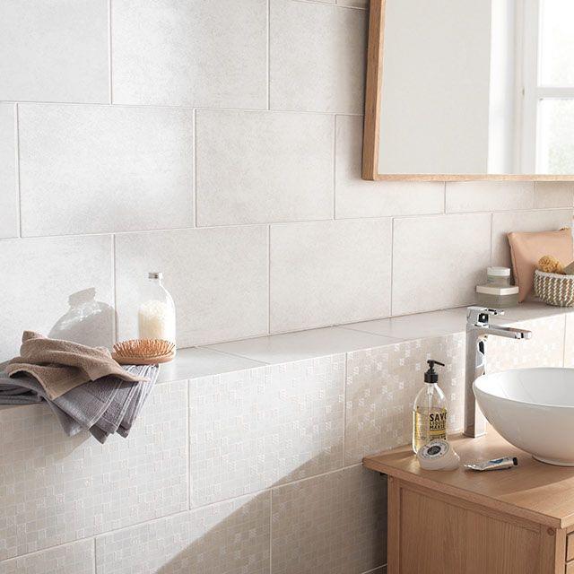 Carrelage mural blanc 25 x 40 cm Cenento - CASTORAMA salle de bain
