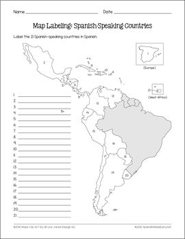 Spanish-Speaking Countries and Capitals Maps and Quiz   Ideas para ...