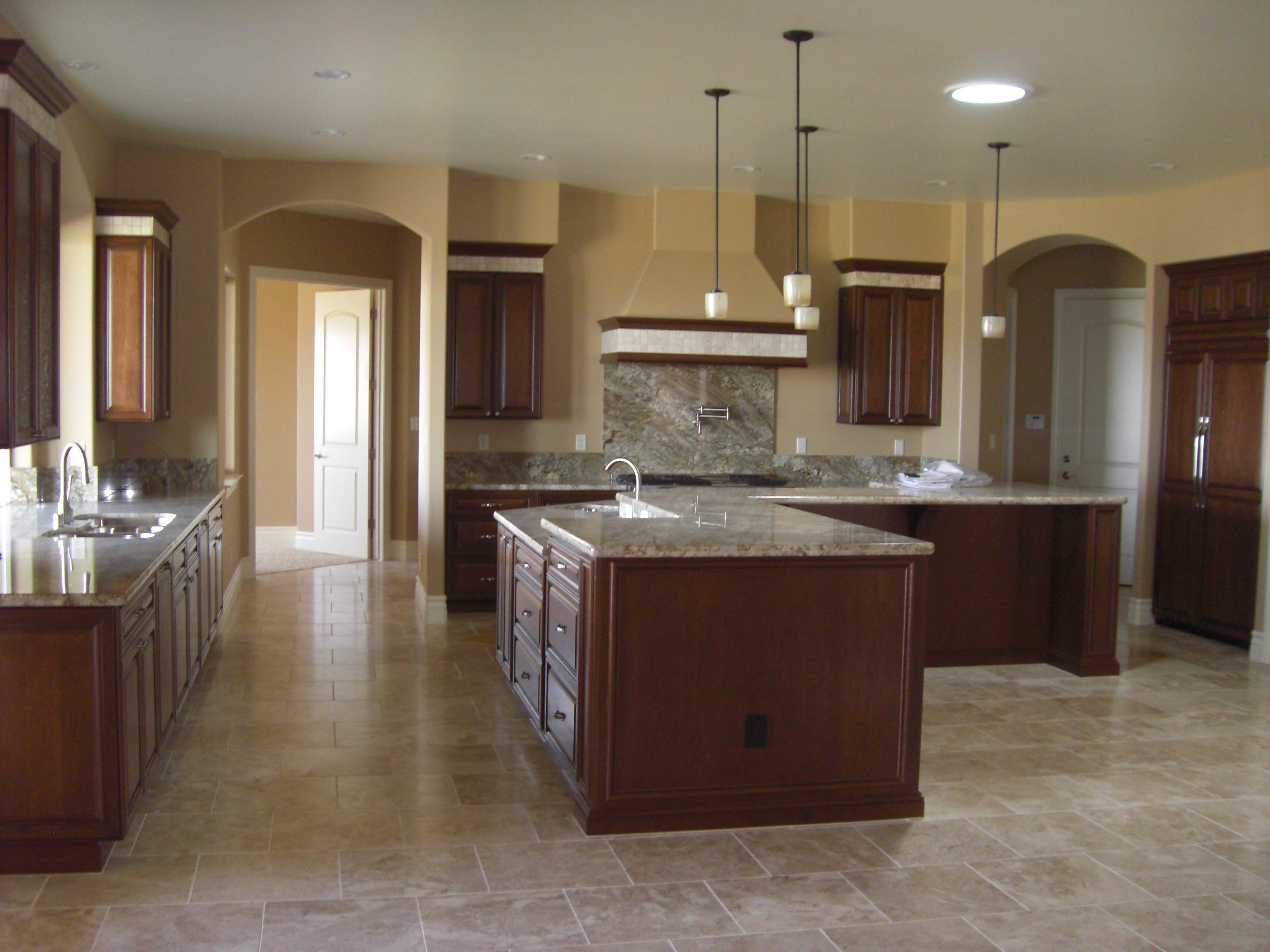 Travertine Flooring In Kitchen Kitchen Granite Slab Counters Cherry Cabinets Travertine 2x2