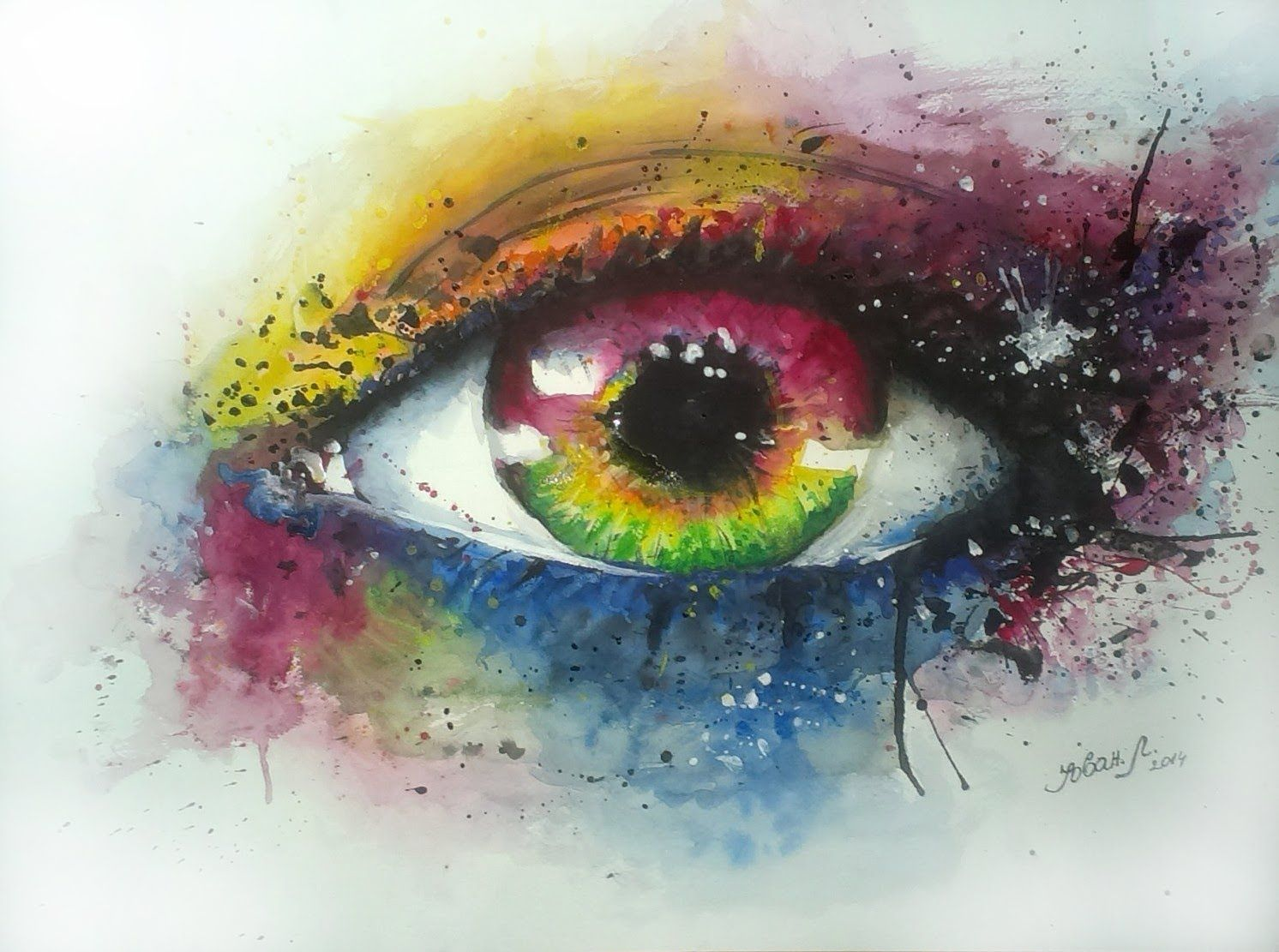 Watercolor painting Eye 35x50cm... This video is made by ...