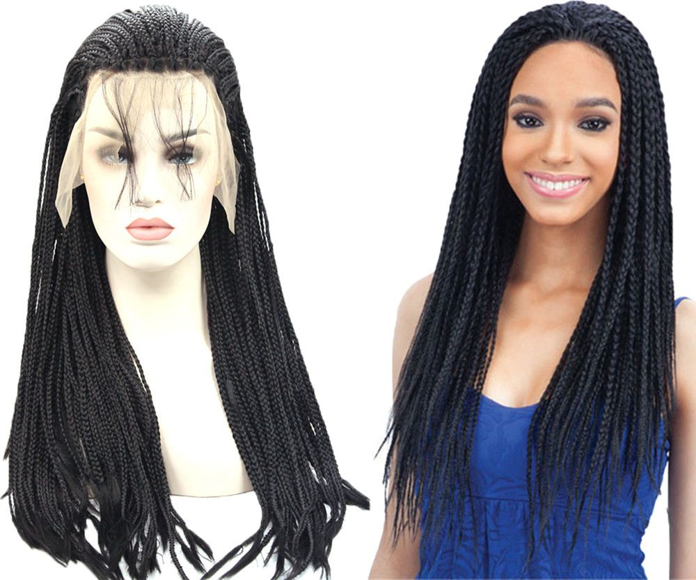 Box Braided Lace Front Wig Head Synthetic Micro Senegalese With Baby ...