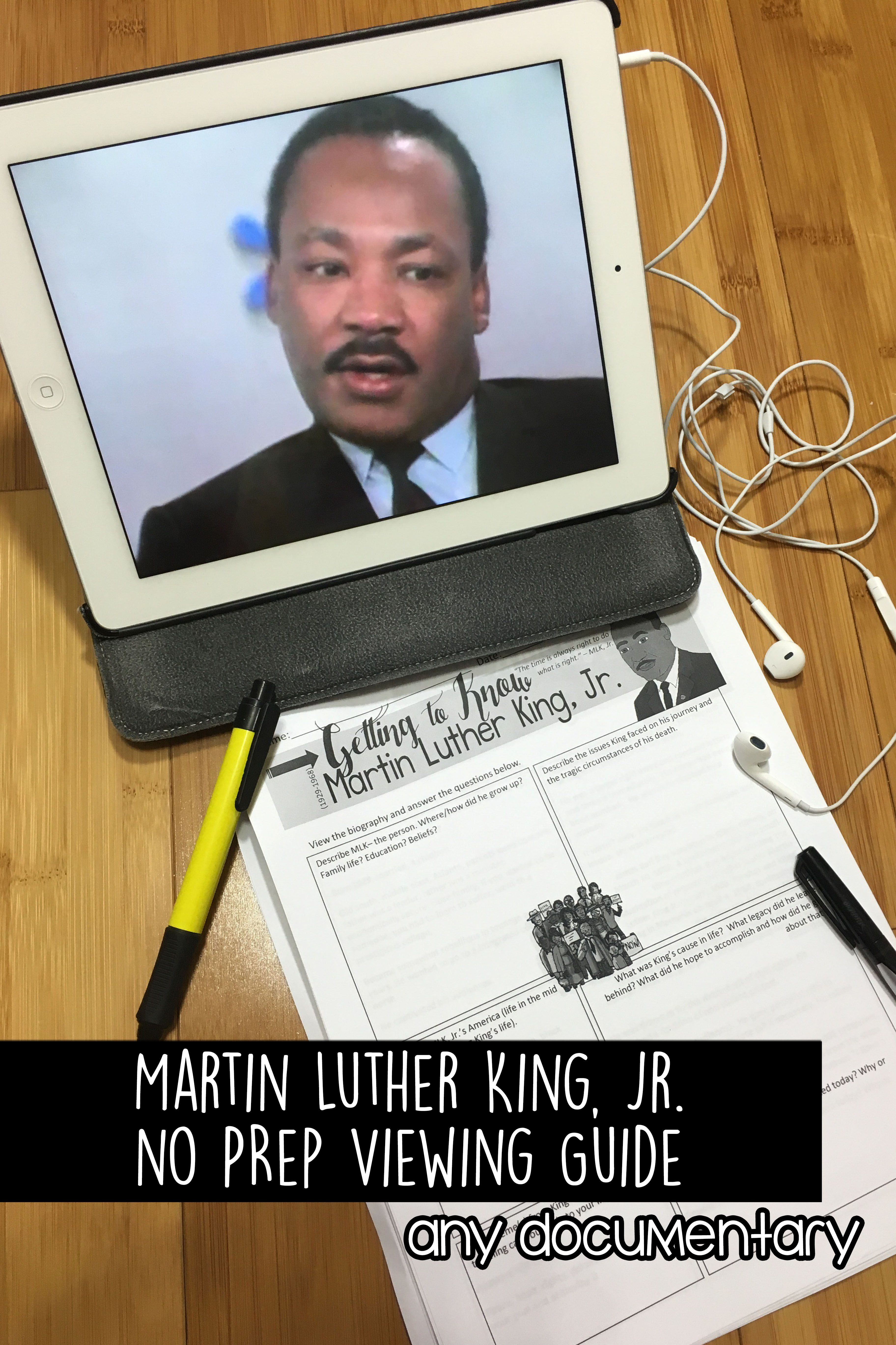 Martin Luther King Activities Biography Viewing Guide