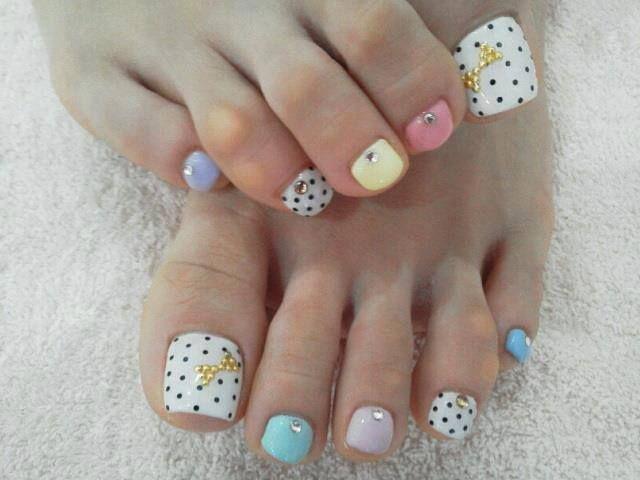 mint - pink - blue - white - polka dots - bows pedicure - nail art ...