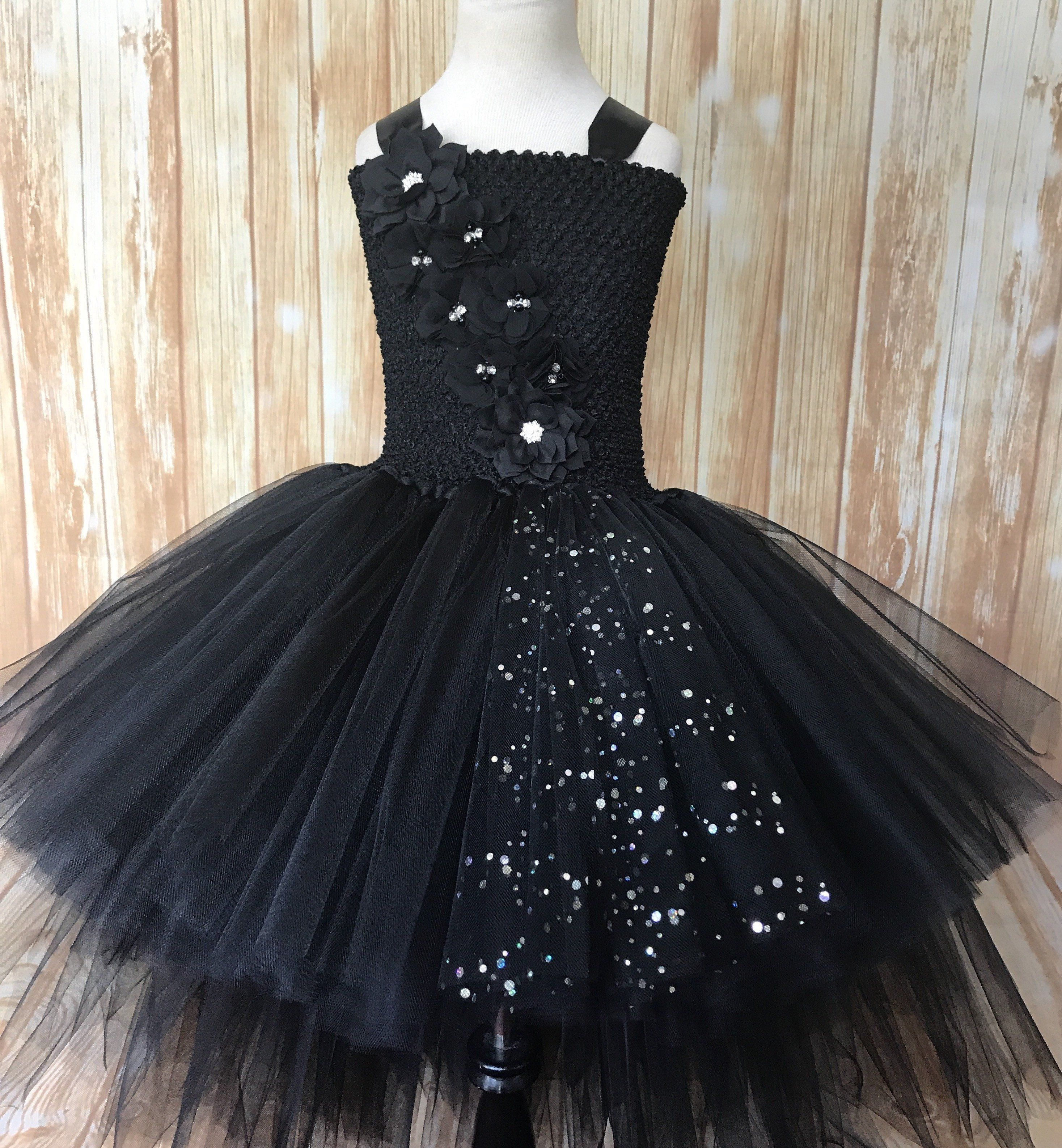 Black Dress-Black Fancy Tutu Dress-Black Flower Girl Tutu Dress-Black Girls Dress-Black Tutu Dress-Black Wedding Dress-Black Baby Dress