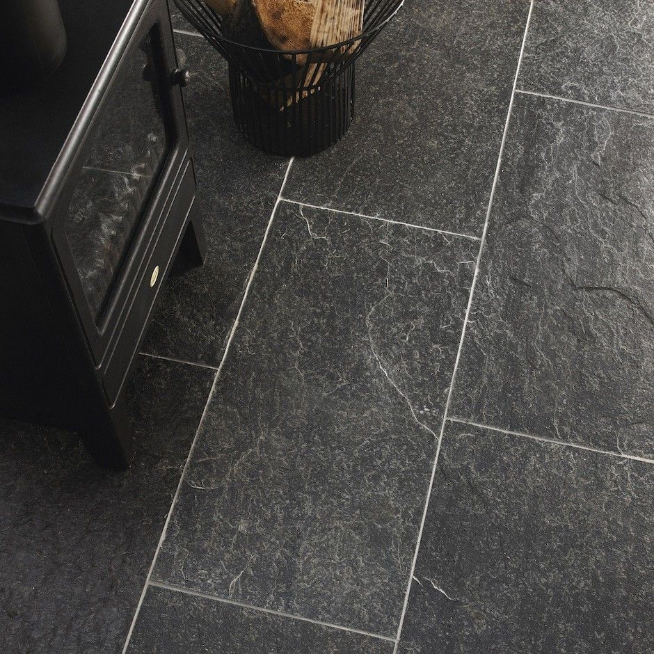 18 Beautiful Examples Of Kitchen Floor Tile: Natural Atomic Grey Quartzite Tiles