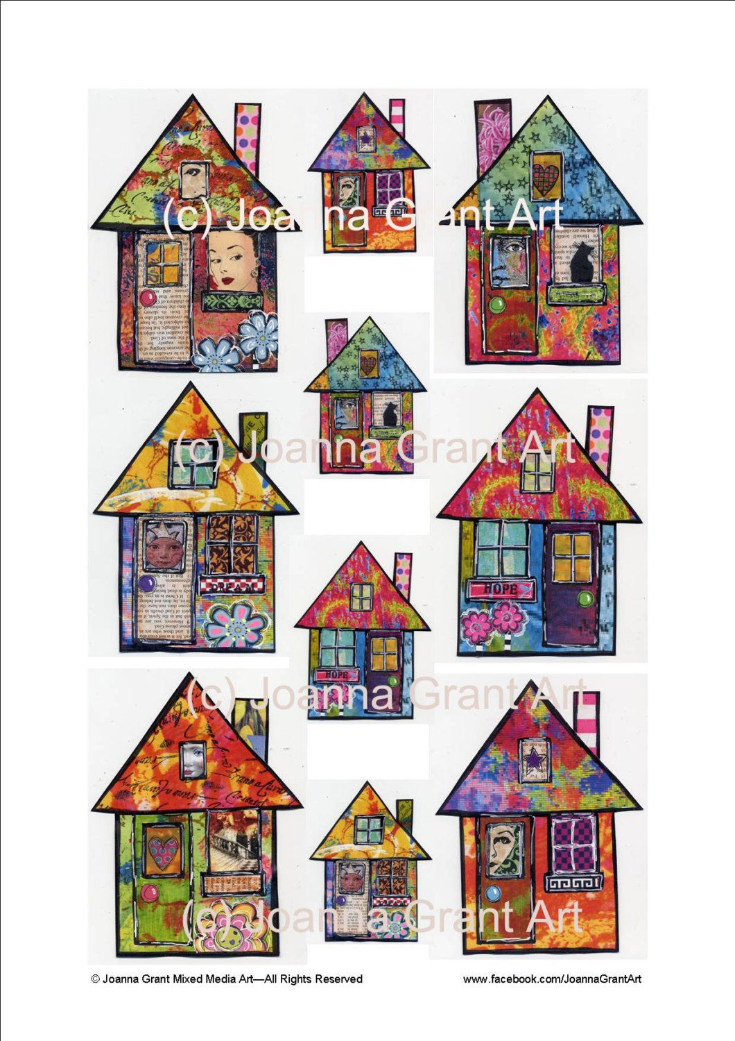 Funky Houses Digital Instant Download Collage Sheet Mixed Media Art Collage Art Mixed Media Mixed Media Art Art
