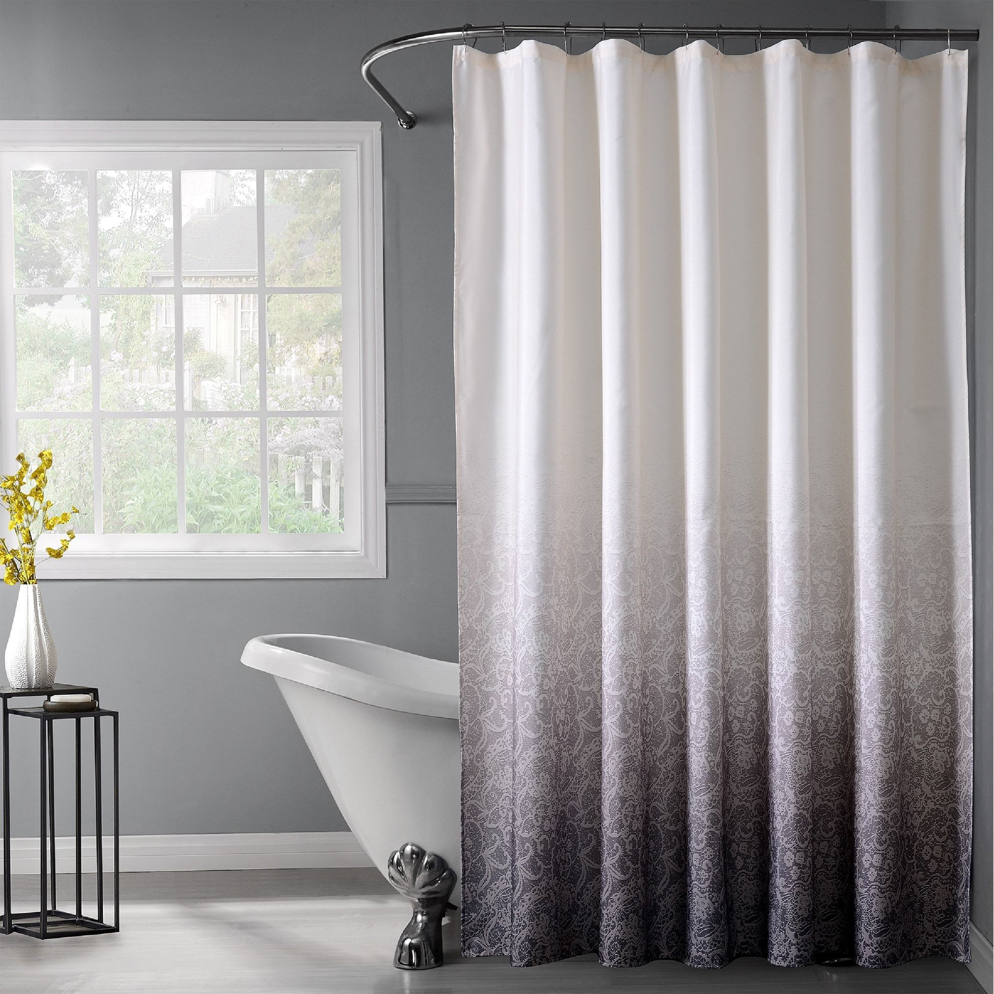 Dainty Home Lace Ombre Shower Curtain Black