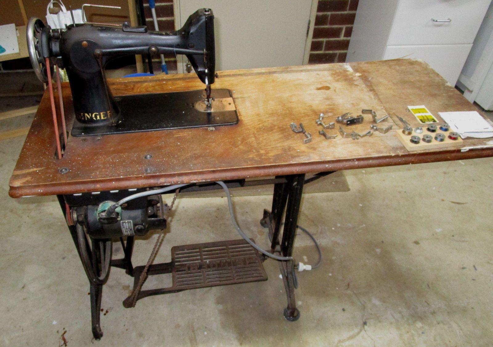 Vintage Semi Industrial Singer 103 K Treadle Sewing Machine Electric Motor Ebay Treadle Sewing Machines Sewing Machine Antique Sewing Table