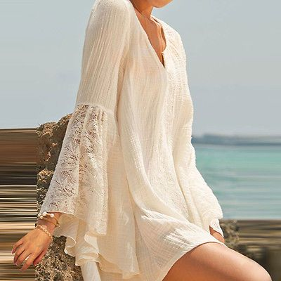 Womens-V-Neck-Loose-Cotton-Mini-Sexy-Shirt-Dress-Long-Sleeve -Casual-Blouse-Tops 9669f40e1