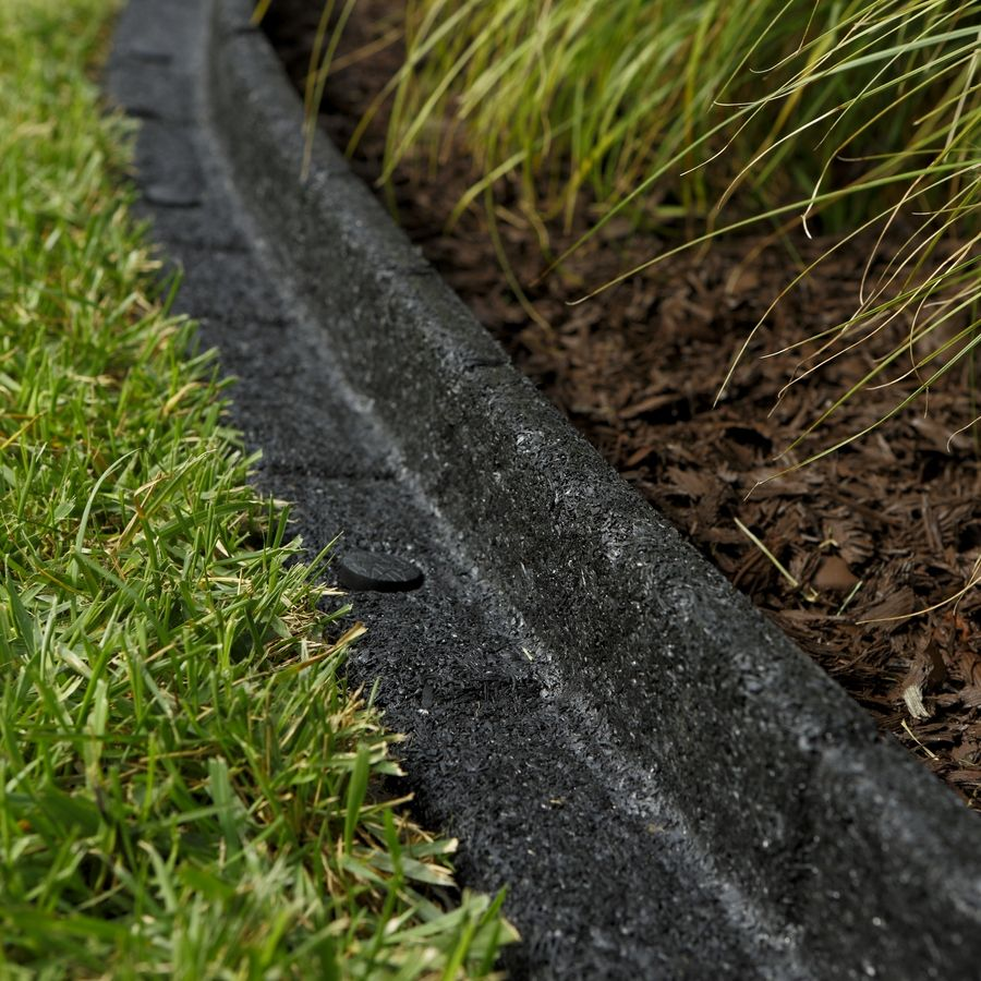 Shop Rubberific 4 Ft Black Landscape Edging Section At Lowes Com Landscape Edging Playground Landscaping Front Yard Landscaping Design