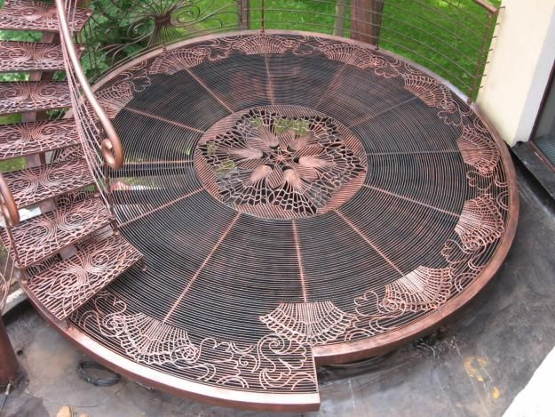 Steampunk Tendencies … wow imagine having this jaw dropping staircase/landing leading into your garden … beautiful work of art ...