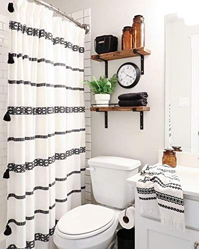 Photo of YoKii Black and Cream Tassel Bohemian Farmhouse Shower Curtain – Shower Curtains Boutique