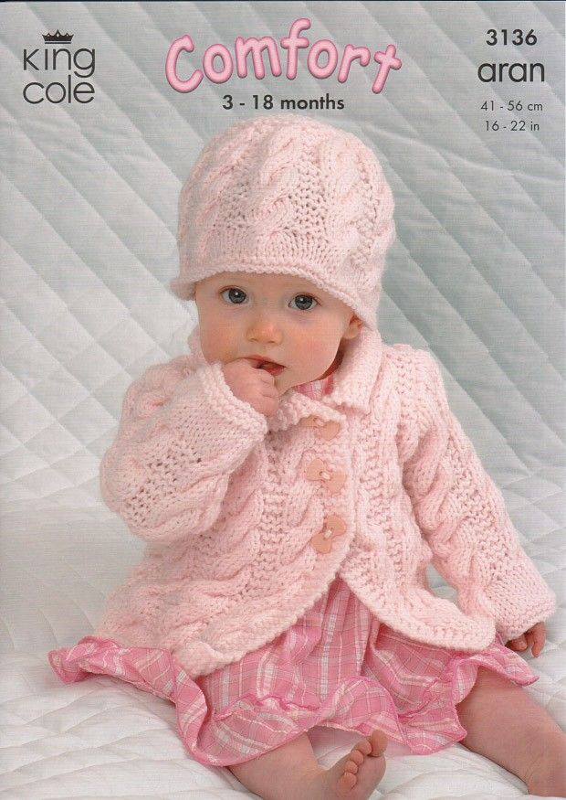 Coat, Dress, Sweater and Hat in King Cole Comfort Aran (3136) | Baby ...