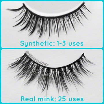 cc3ee904290 Reusable Mink Eyelashes vs Synthetic. Real mink lashes can be used more  than 5 times
