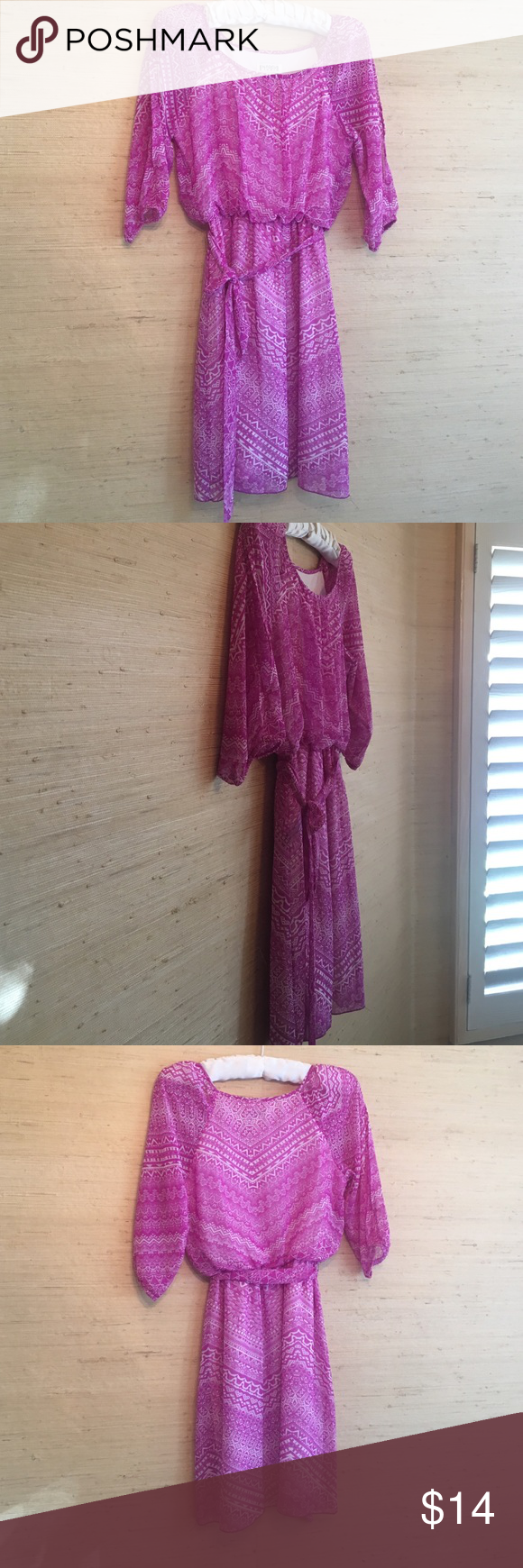 🎉FINAL PRICE🎉En Focus Studio Dress 🎉FINAL PRICE🎉Cute En Focus Studio dress.  Pink and white print. Size 4.  Comes with belt.  Gently used. EnFocus Studio Dresses Midi