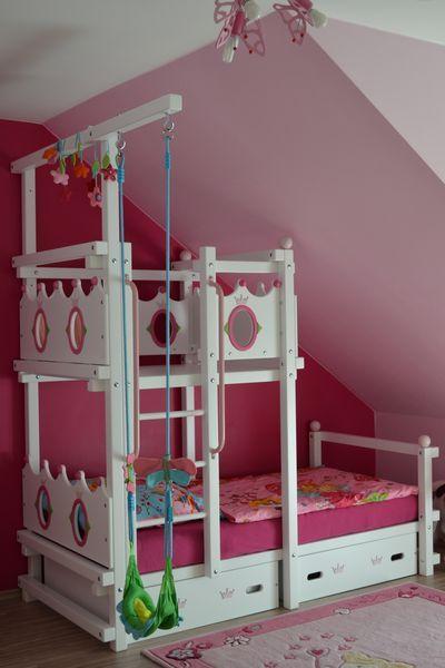 Kinderbett selber bauen prinzessin  Tolles Etagenbett in weiß und rosa http://www.kindermoebelparadies ...