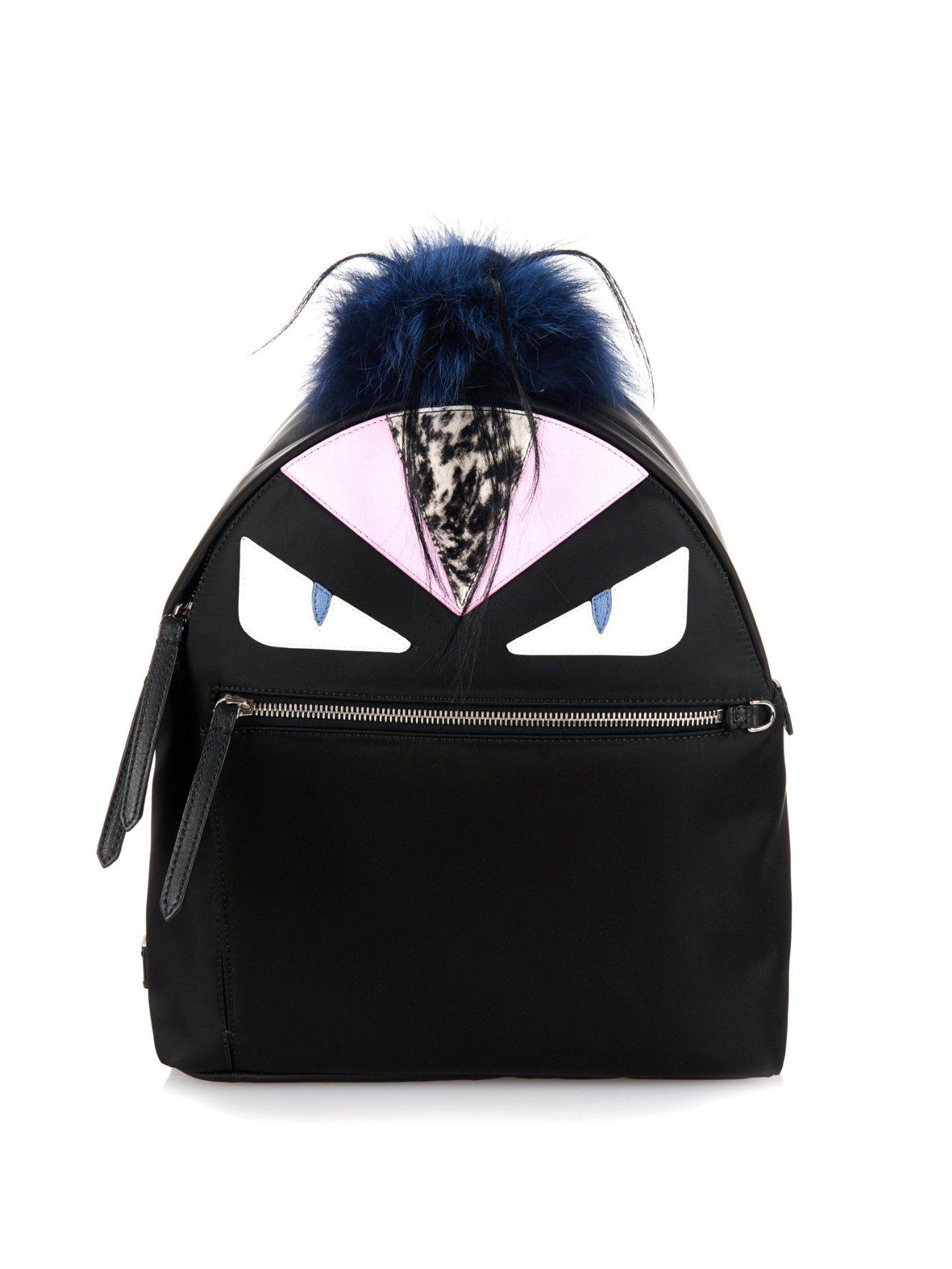 Bag Bugs nylon and fox-fur backpack  d967546cf3f63