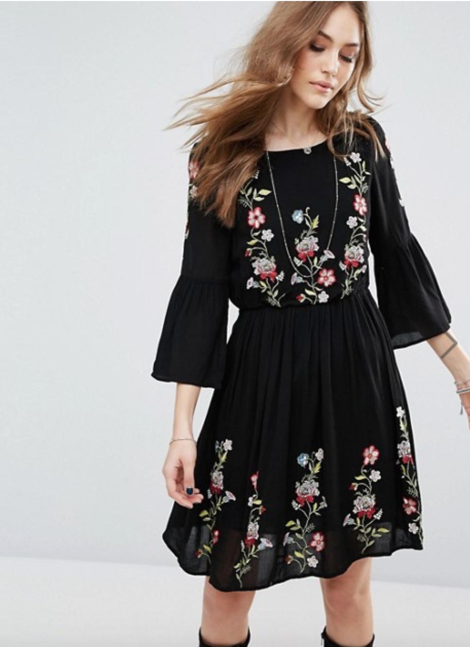 f56b067b4ac Vero Moda Floral Embroidered Flute Sleeve Dress | dresses | Dresses ...