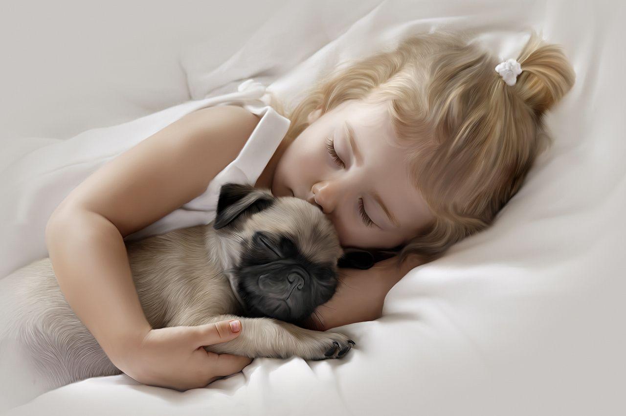 Picture Pug Little Girls Dogs Pretty Children 2 Sleep Cute Sweet