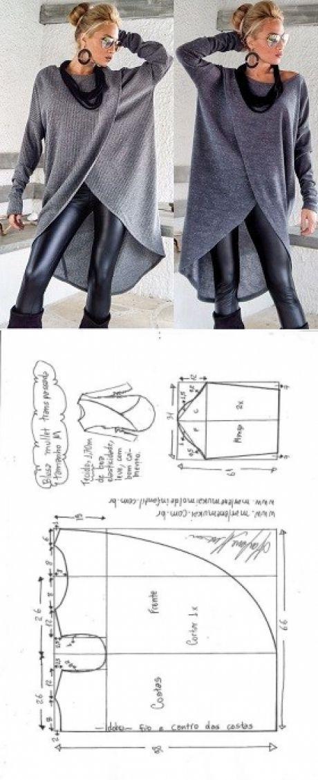 Blusa mullet transpassada para malha | DIY - molde, corte e costura - Marlene Mukai #blusas