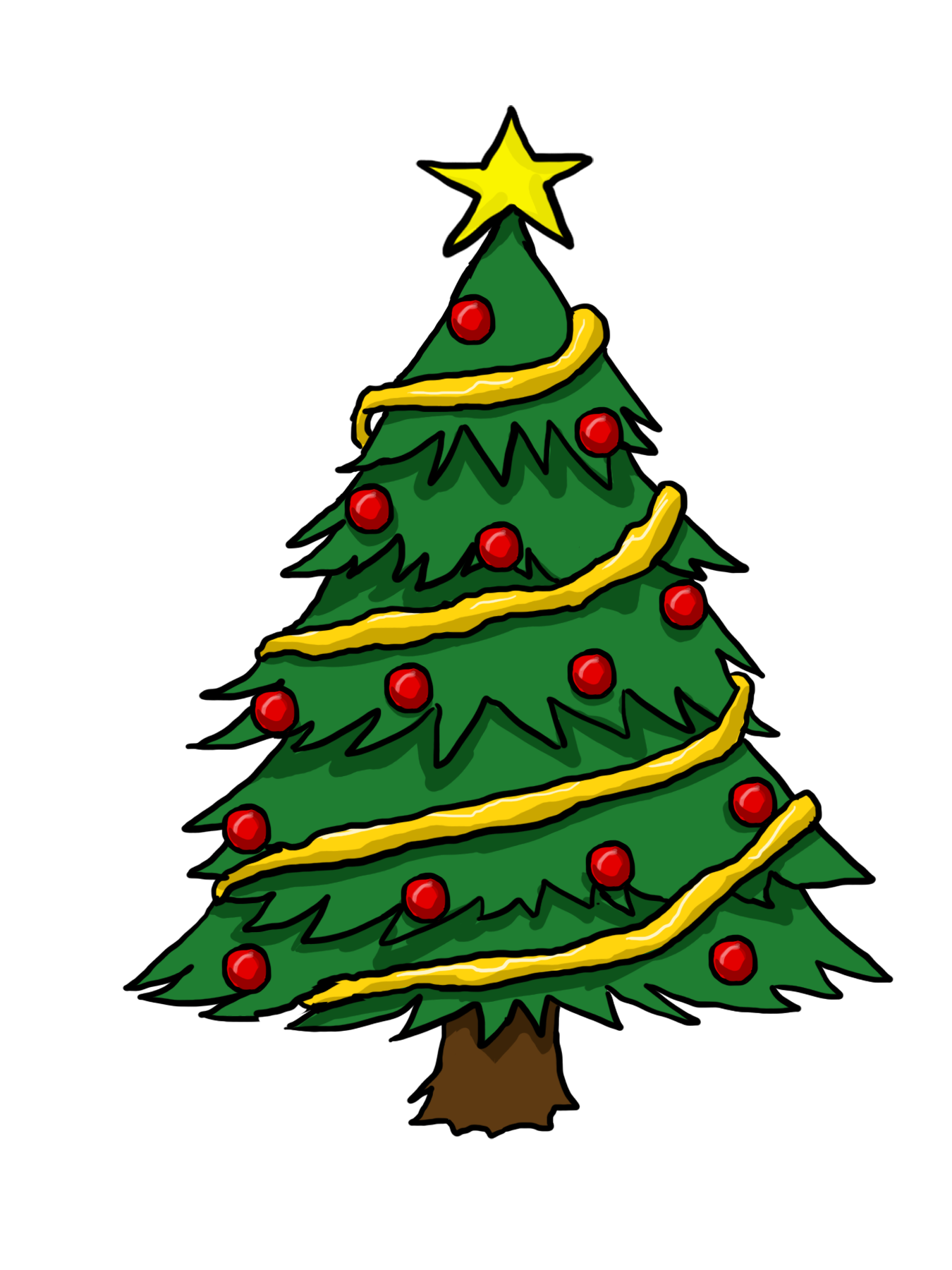 Free Cliparts Christmas Tree Drawing Christmas Tree Clipart Christmas Tree Coloring Page
