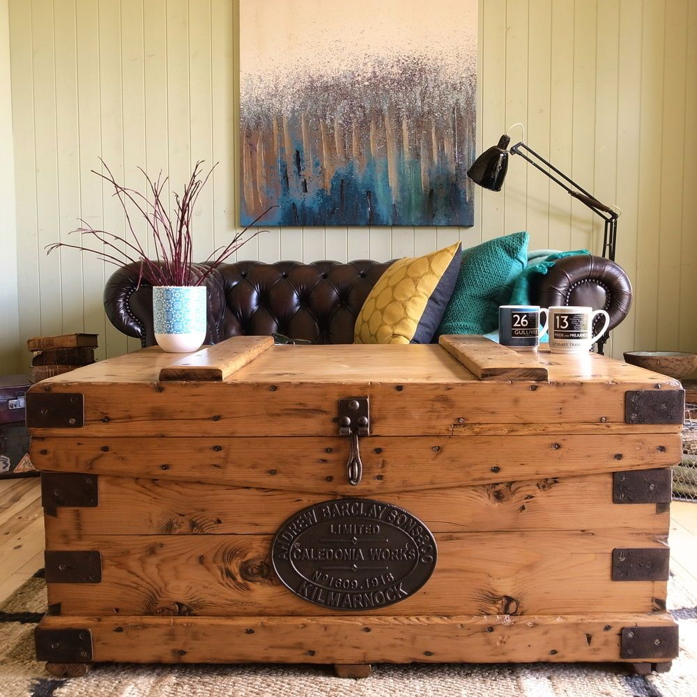 Antique victorian military campaign chest vintage industrial antique victorian military campaign chest vintage industrial coffee table trunk geotapseo Choice Image