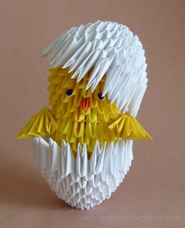 Gulnas' Kunstblog: Küken in Eierschale. 3D / modulares Origami
