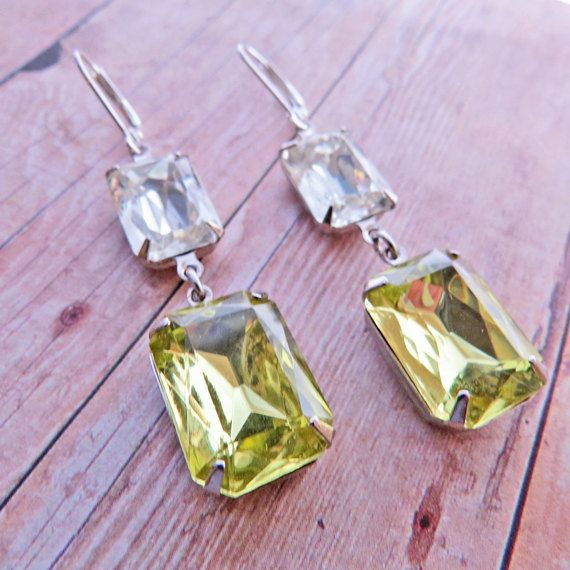 Yellow Earrings Bridal Earrings Vintage Clear by GoingHoLLyWood, $26.00