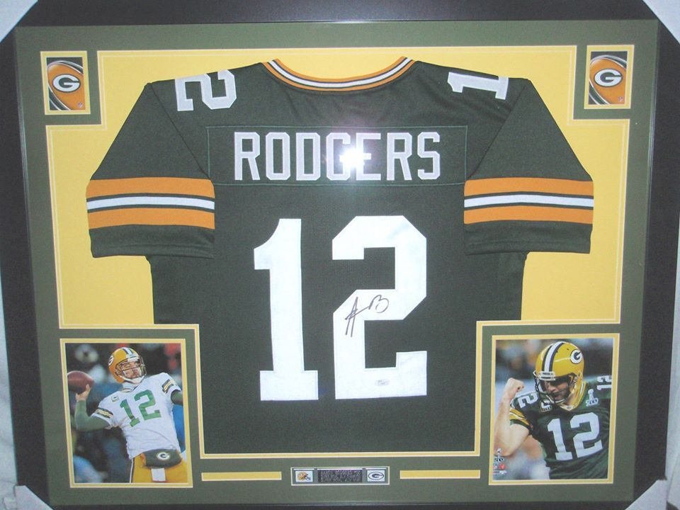 Aaron Rodgers Autographed Framed Green Bay Packers Football Jersey Jsa Http Clektr Com Bfs0 Green Bay Packers Football Packers Football Green Bay Packers