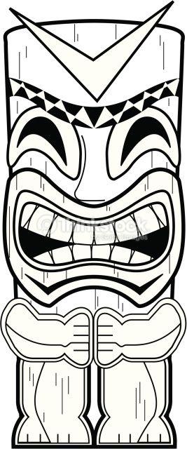 Tiki Totem Pole Totem Tiki Mascara De Tiki Paginas Para Colorear