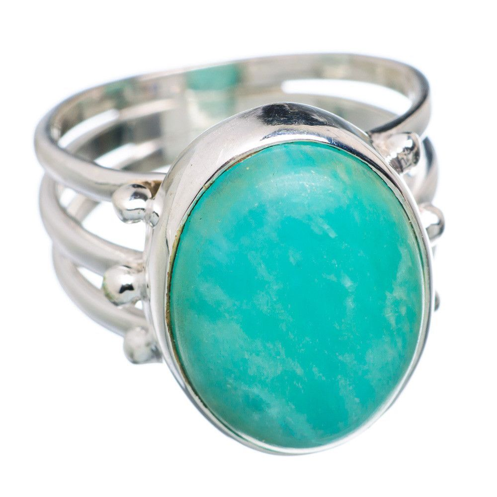 Amazonite 925 Sterling Silver Ring Size 7.25 RING687883