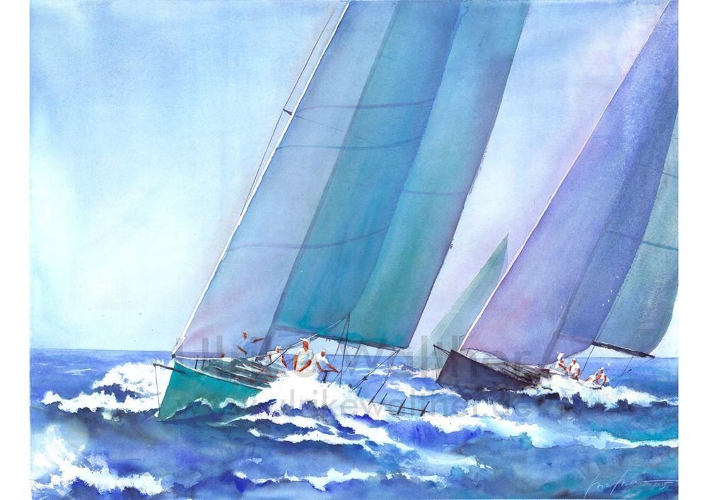 Shimering Moment Keilrahmen-Bild Leinwand Segelschiff segeln Meer Brent Lynch