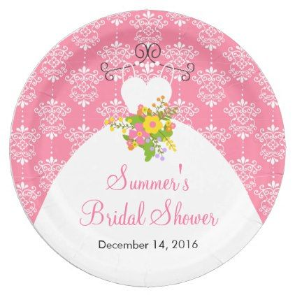 Summer Pink Damask Wedding Dress Bridal Shower Paper Plate Gifts Ideas Bride