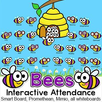 Bee Theme Interactive Attendance for All Whiteboards and - attendance sheet for students