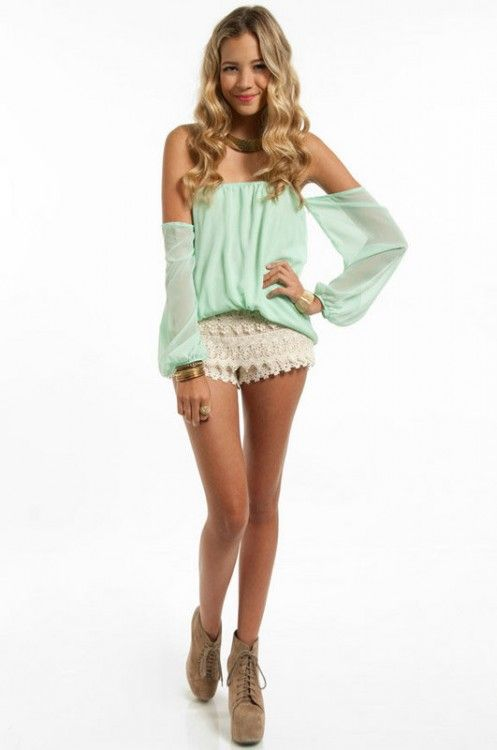f71ff7aa2fc4 Mint green slouchy off the shoulder top