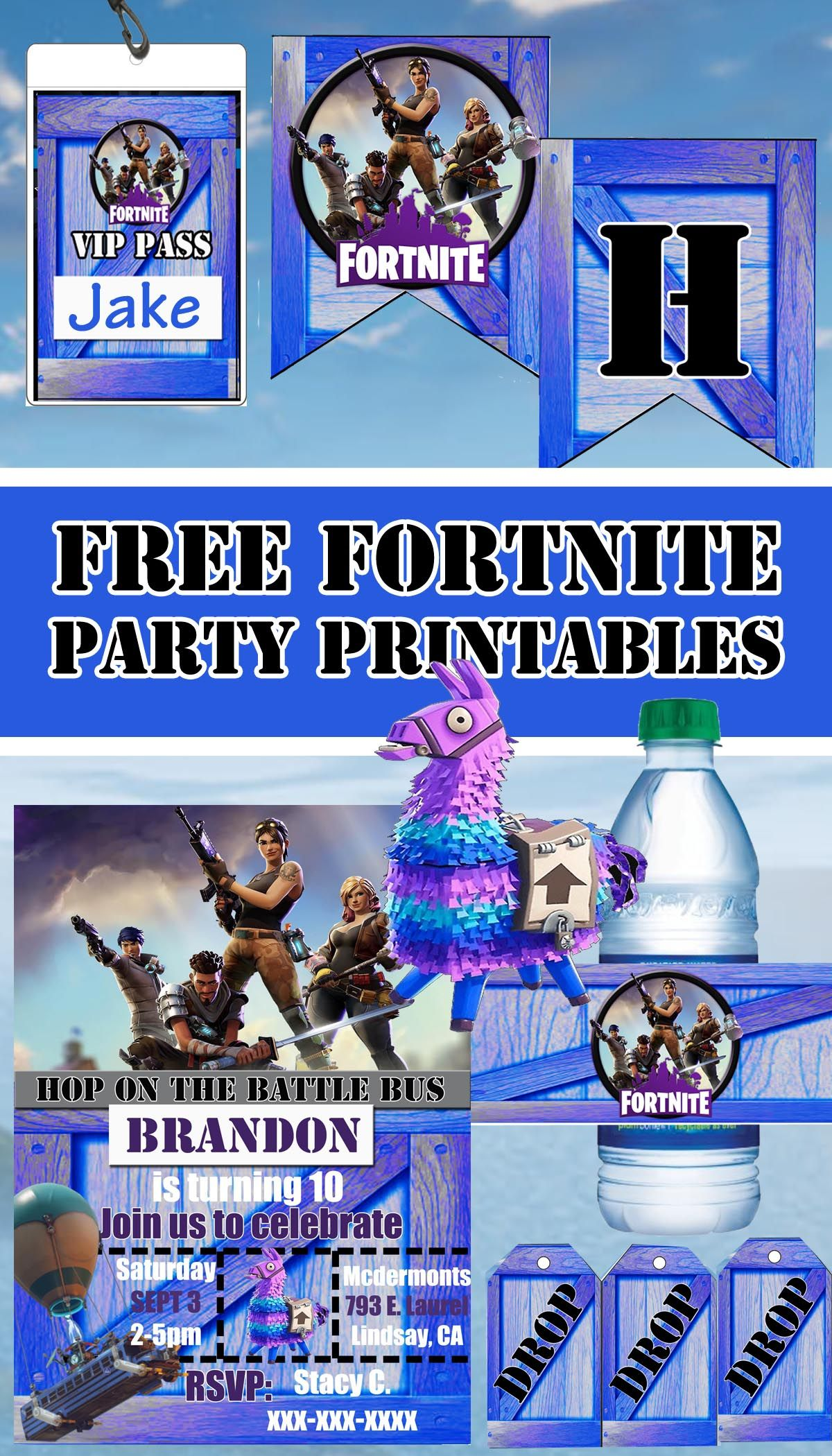 photo relating to Fortnite Printable Images identify No cost Fortnite Birthday Bash Printable Information Banner