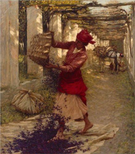 Henry Herbert La Thangue (1859 - 1929)   Impressionism   Violets for Perfume - 1913