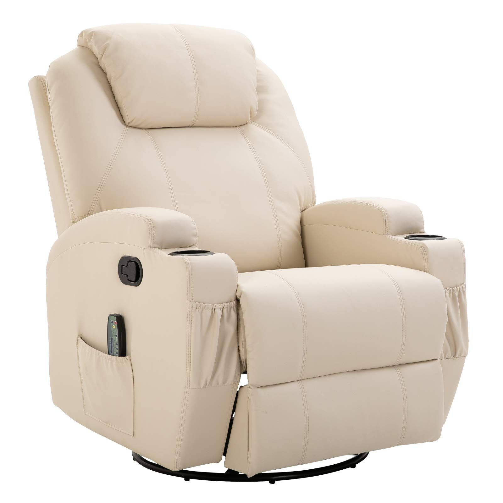 Homcom Faux Leather Heated Vibrating Recliner Chair With Remote Cream White In 2020 Recliner Chair Furniture Buy Chair