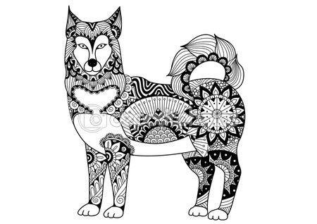 Alaskan malamute perros línea arte diseño de tatuaje, diseño de la ...