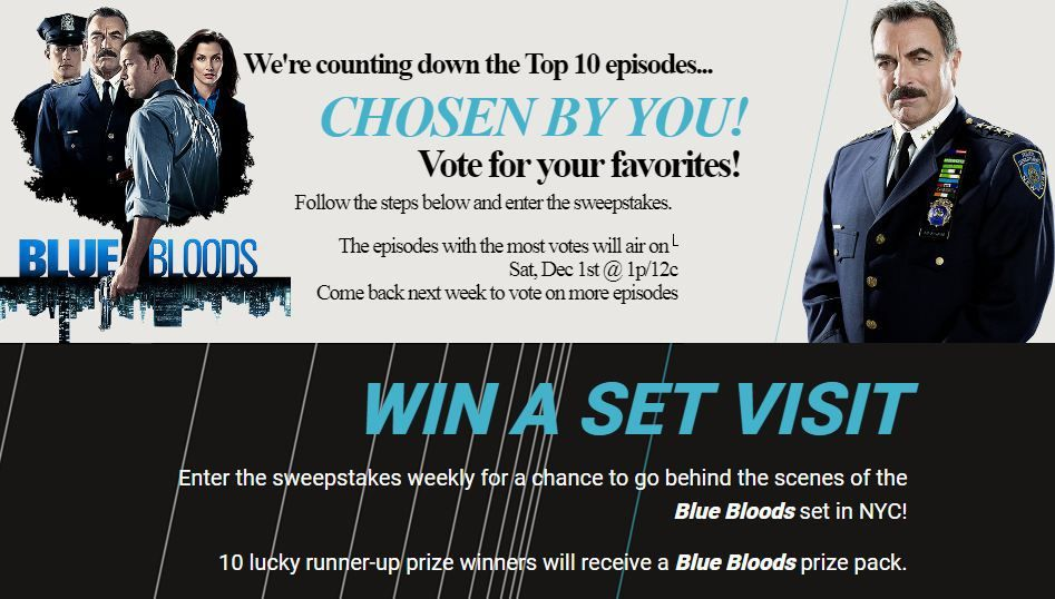WGN America Blue Bloods Sweepstakes   Sweepstakes and