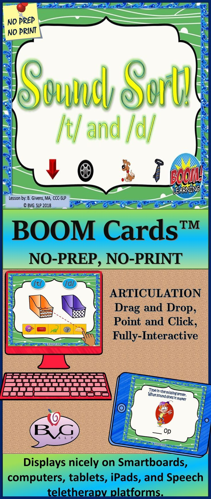 Boom cards speech therapy sound sort t d articulation