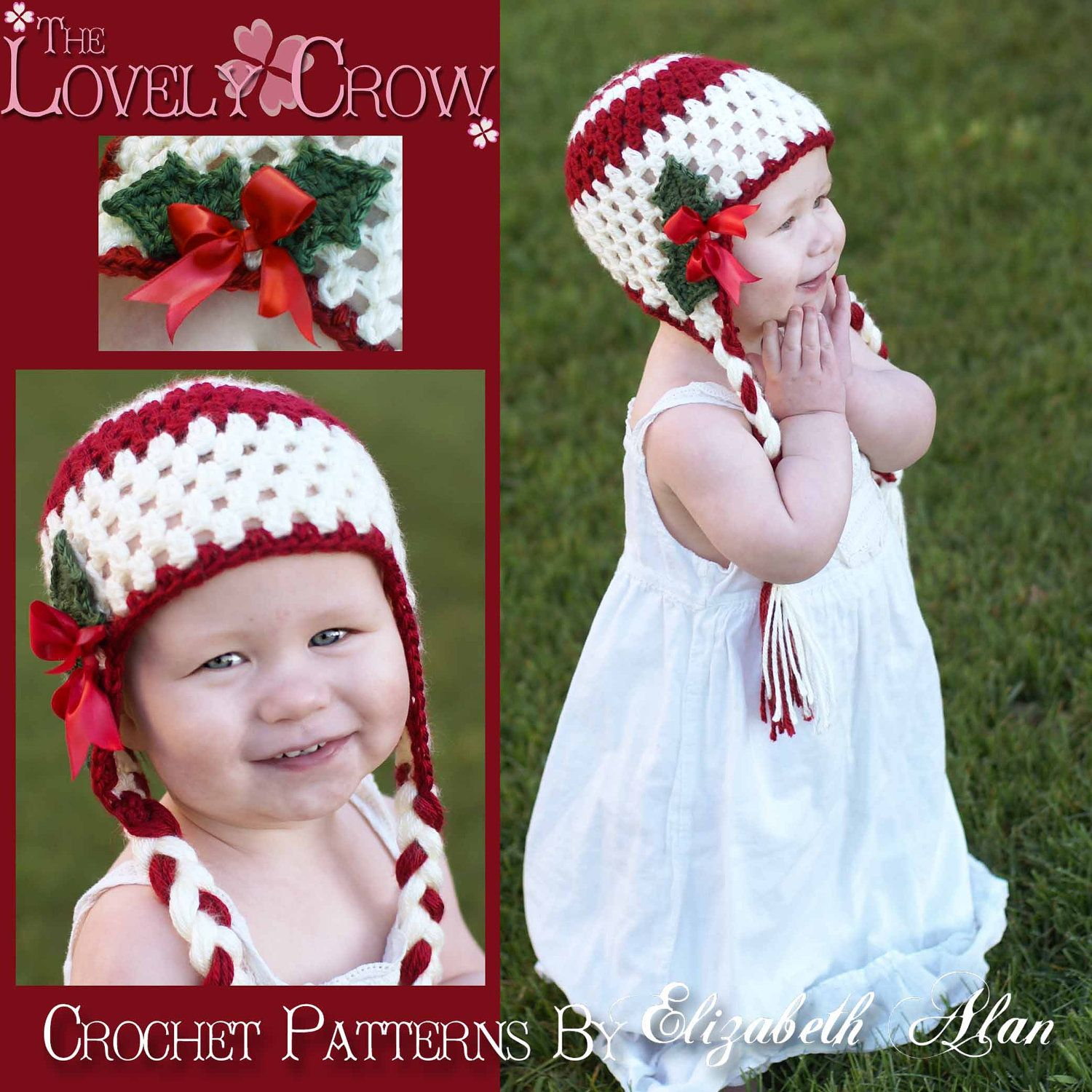 Christmas Hat Crochet PATTERN for Holly Earflap Beanie digital ...