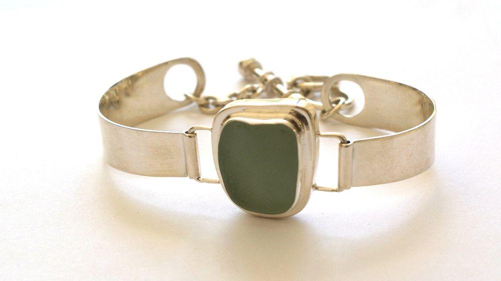 Light Green Sea Glass Bracelet
