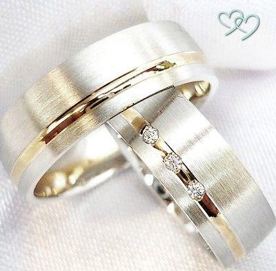 Details Zu 2 Trauringe 925 Silber Bicolor Eheringe Verlobungsringe