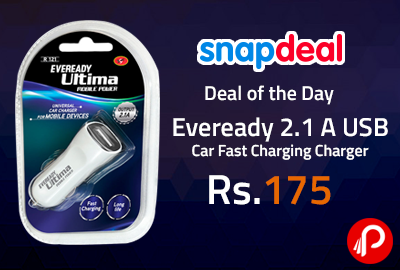 Eveready 2.1 A USB Car Fast Charging Charger at Rs.175
