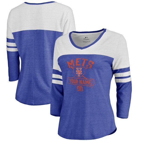 New York Mets Fanatics Branded Women S Personalized Base Runner Tri Blend Three Quarter Sleeve T Shirt Long Sleeve Tshirt Men Team Sports Apparel Nfl Pro Line