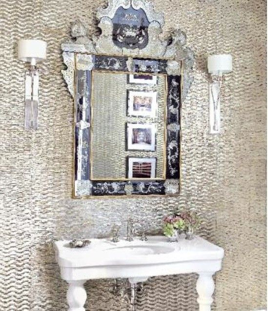 Room Vintage Mirror Metallic Wallpaperbath