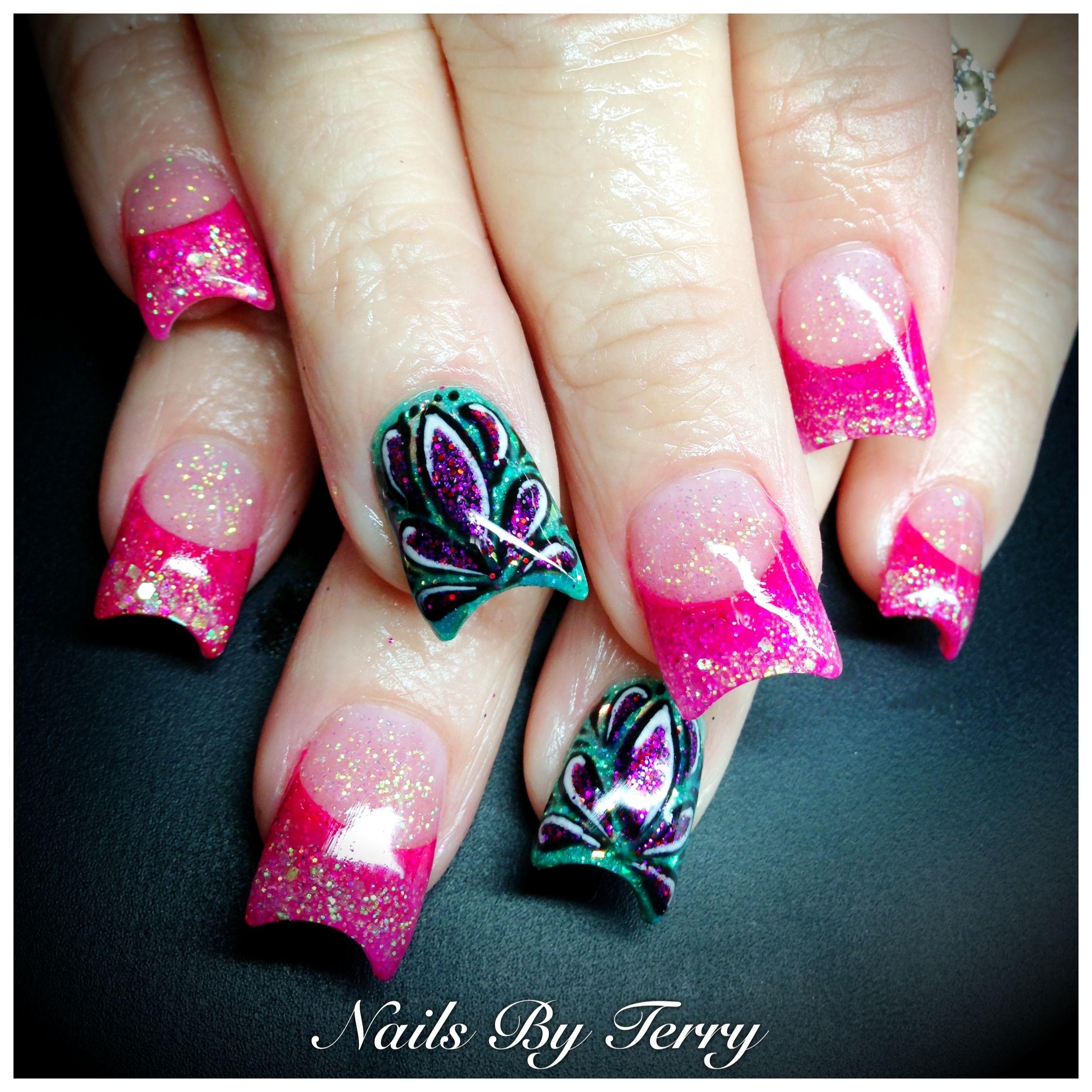 Hot pink nails with teal retro design! | Nails! | Nails ...