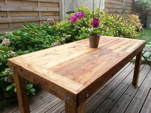 table manger en bois de palettes reclaimed pallets wood dining table pallet ideas. Black Bedroom Furniture Sets. Home Design Ideas