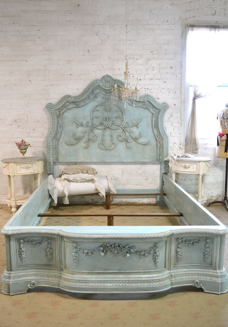 French bed painted cottage shabby chic queen king bed for Painted on headboard